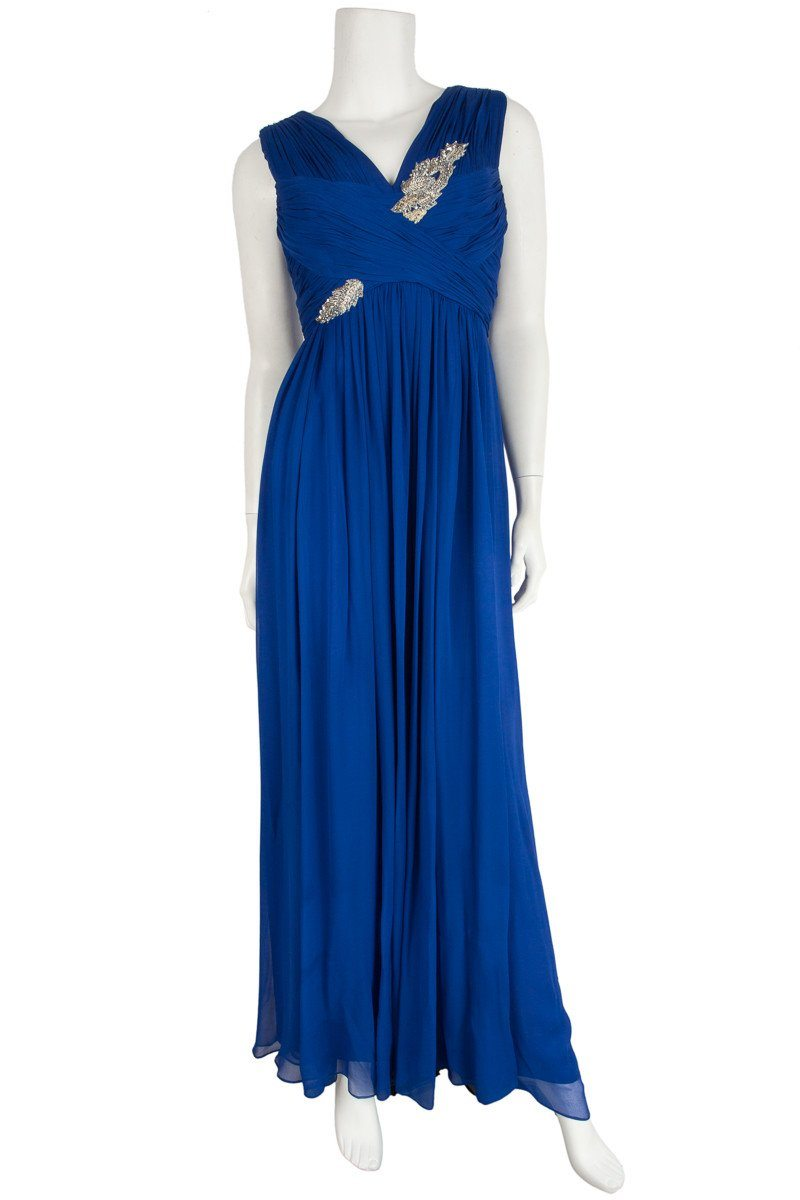 Marchesa Cobalt Blue Pleated And Ruched Long Gown Sz 4