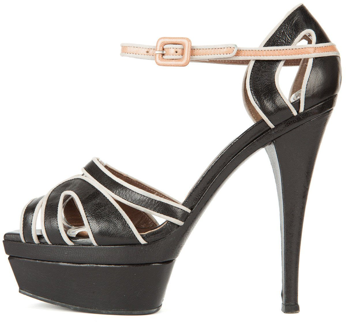 Marni 39 Black and Gray Leather Platform Ankle Strap Sandals