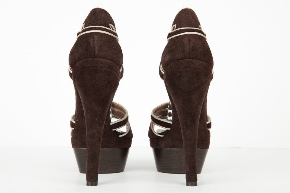 Marni 39 NWT Brown and Gray Suede Platform Ankle Strap Sandals