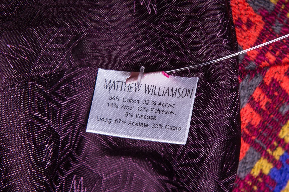 Matthew Williamson Red Multi Color Peplum Jacket SZ 10