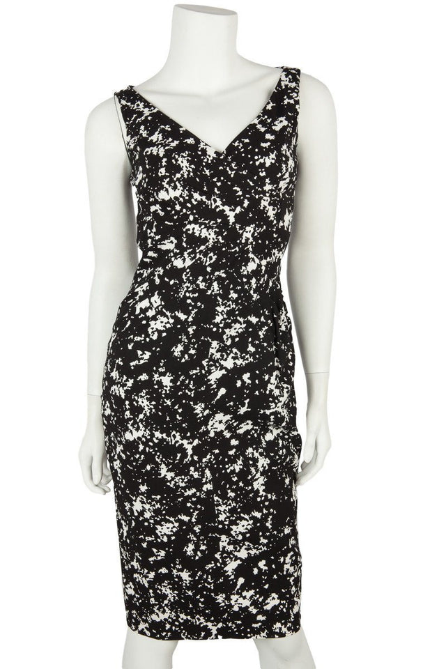 Michael Kors Black and White Print Sleeveless Sheath Dress Sz 2