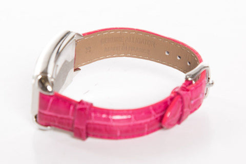 Michele Pink & White Crocodile Watch