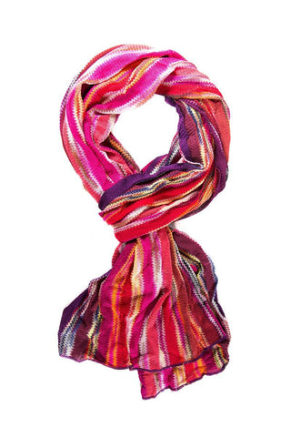 Missoni Knit Scarf With Abstract Stripe Pattern Throughout