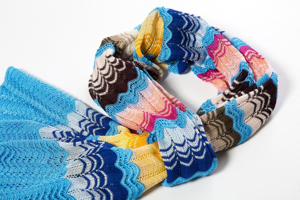 Missoni Multicolor Knit Scallop Patterned Scarf