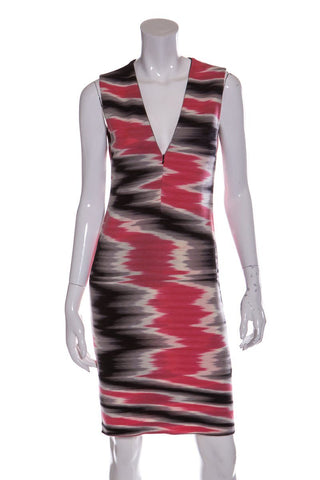 Missoni Pink Sleeveless Ikat Print Zip Closure Knit Dress SZ 42