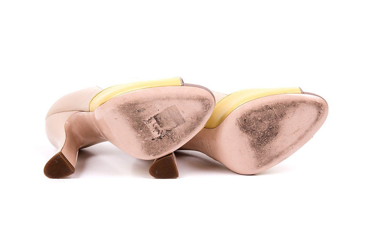 Miu Miu 36 Nude & Yellow Leather Peep Toe Ombre Heels
