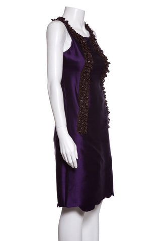 Miu Miu Sleeveless Purple Beaded Silk Knee-Length Dress Sz 38
