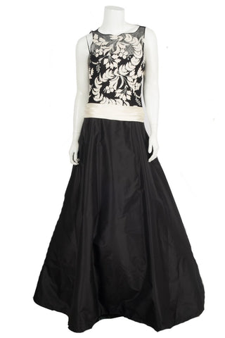 Monique Lhuillier Black Embroidered Ball Gown Sz 8