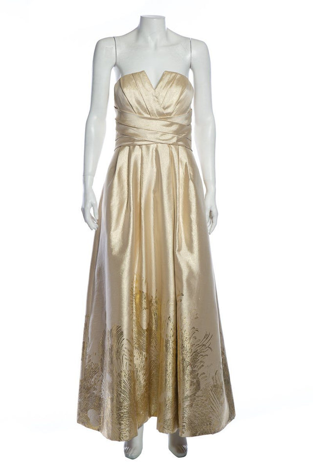 Monique Lhuillier Tan & Gold Metallic Gown