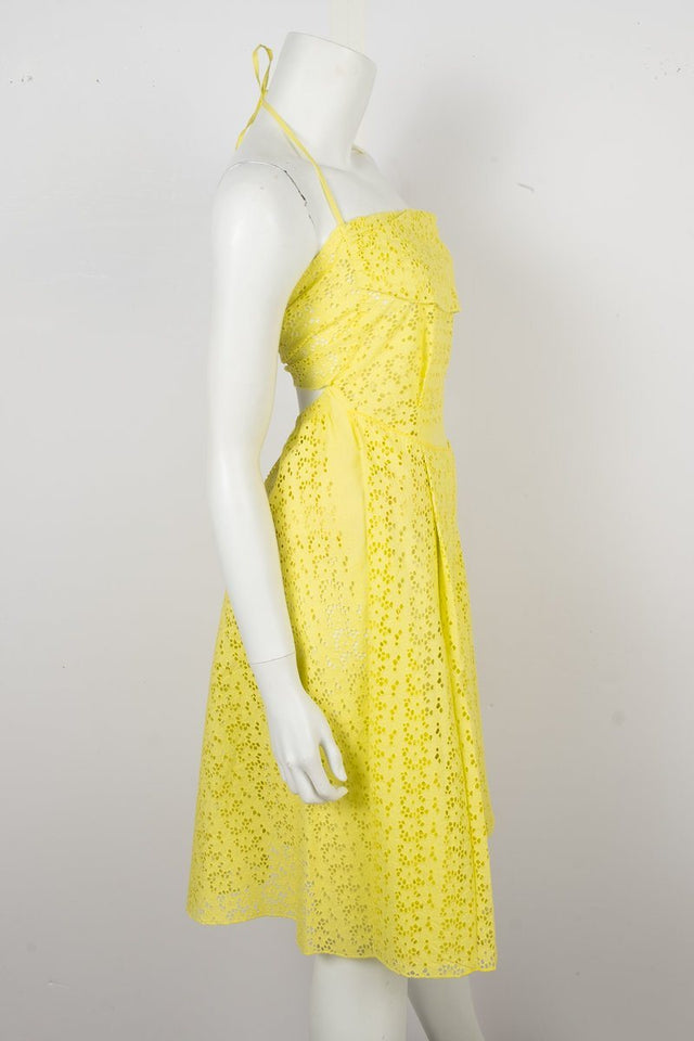 Nina Ricci Yellow Eyelet Dress Sz 34