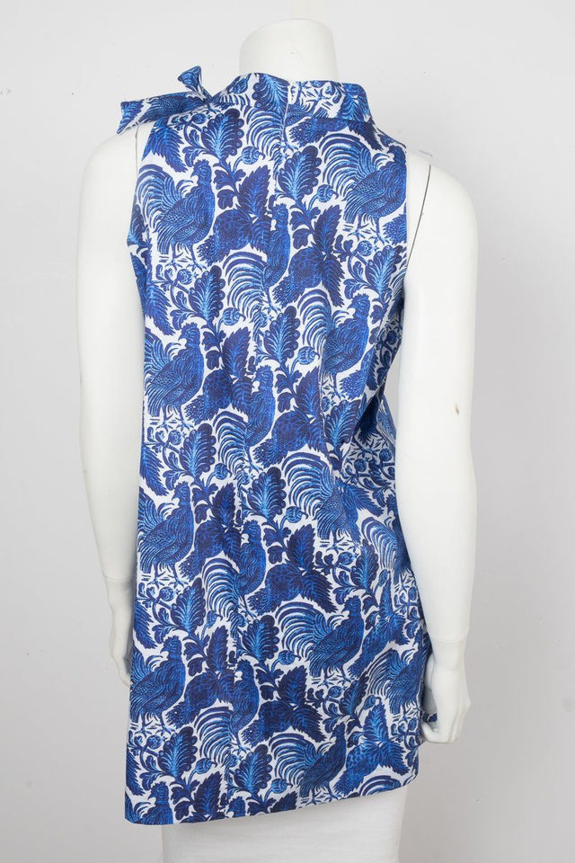 Oscar de la Renta Blue Printed Dress Sz 14 NWT