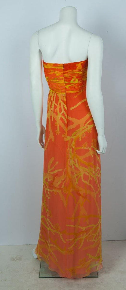 Oscar De La Renta Strapless Orange Evening Gown Sz 4 Sale