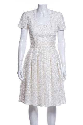 Peggy Jennings Ivory Short Sleeve Dress SZ S DS