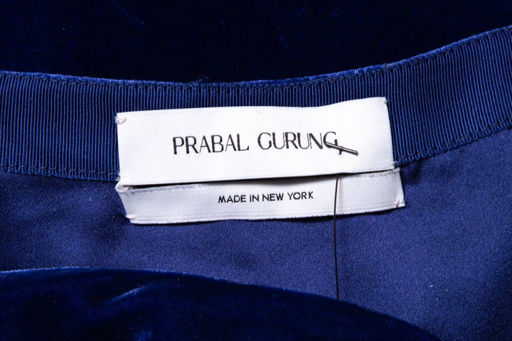 Prabal Gurung Navy Blue Velvet Maxi Skirt From FW18 Collection SZ 4