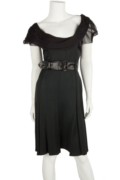 Prada Black Scoop Neck A-Line Dress Sz 6