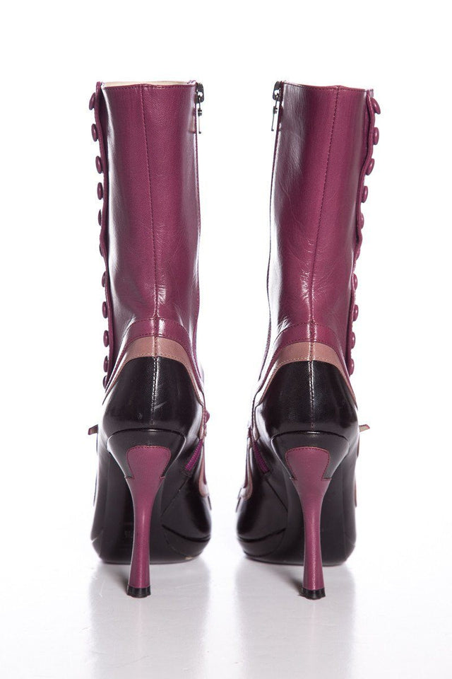 Prada Purple and Black Leather 'Fairy Collection' Mary Jane Boots SZ 37.5
