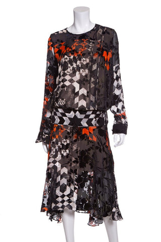 Preen Black & Orange Velvet Pattern Dress SZ M
