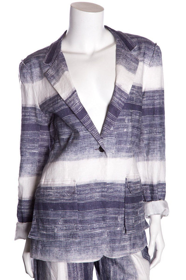 Raquel Allegra Blue and Cream Batik Print Blazer