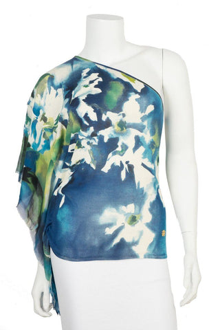 Roberto Cavalli Blue One Shoulder Knit Top