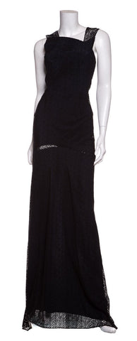 Roland Mouret Black and Blue Lace Sleeveless Gown SZ 2 Sale