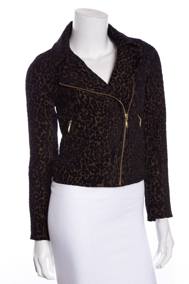 Roseanna Black Animal Print Moto Jacket NWT SZ 36
