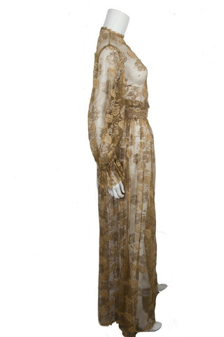 Ruben Panis Vintage Gold Lace Dress