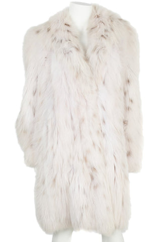 Genuine Russian Lynx Belly Fur Coat - Size Large