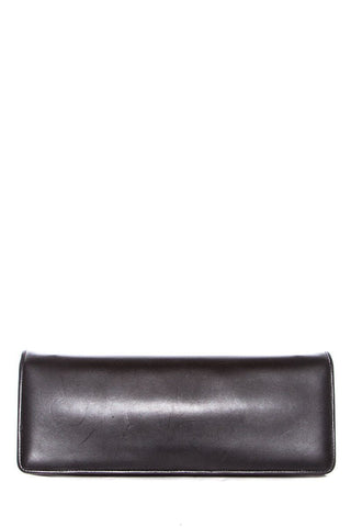 Salvatore Ferragamo Black Leather Magnetic Closure Clutch