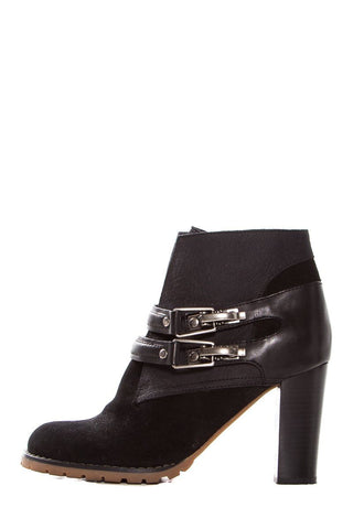 See by Chloe Black Suede Round-Toe Ankle Booties SZ 37