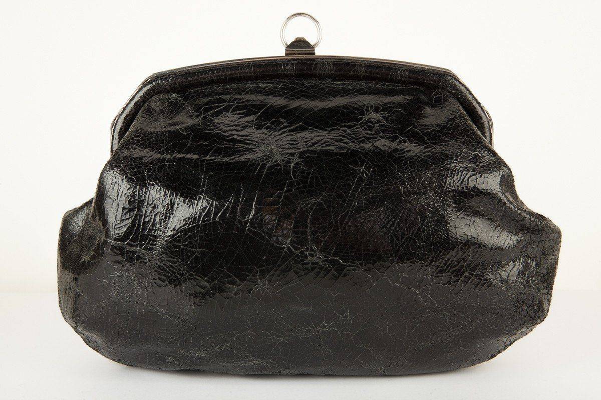 Sonia Rykiel Black Crinkle Patent Leather Shoulder Bag