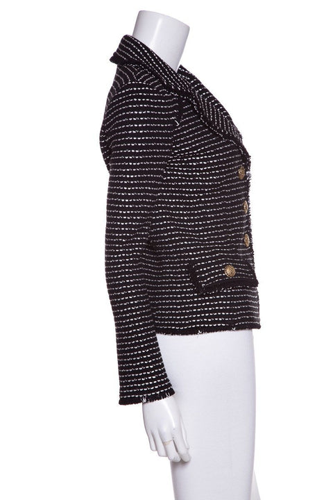 St John Black and White Knit Blazer SZ 2
