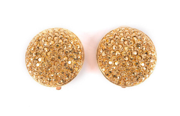 St John Round Gold Rhinestone Clip On Earrings