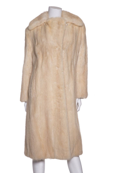 Tan Long-Sleeve Fur Coat