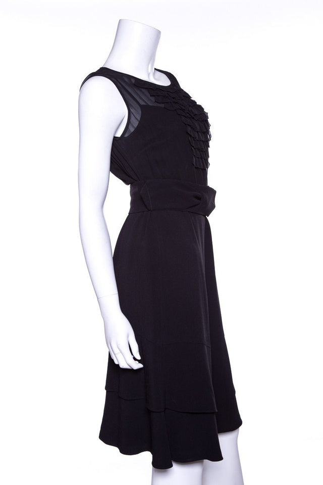 Temperley Black Ruffled Detail Dress SZ S