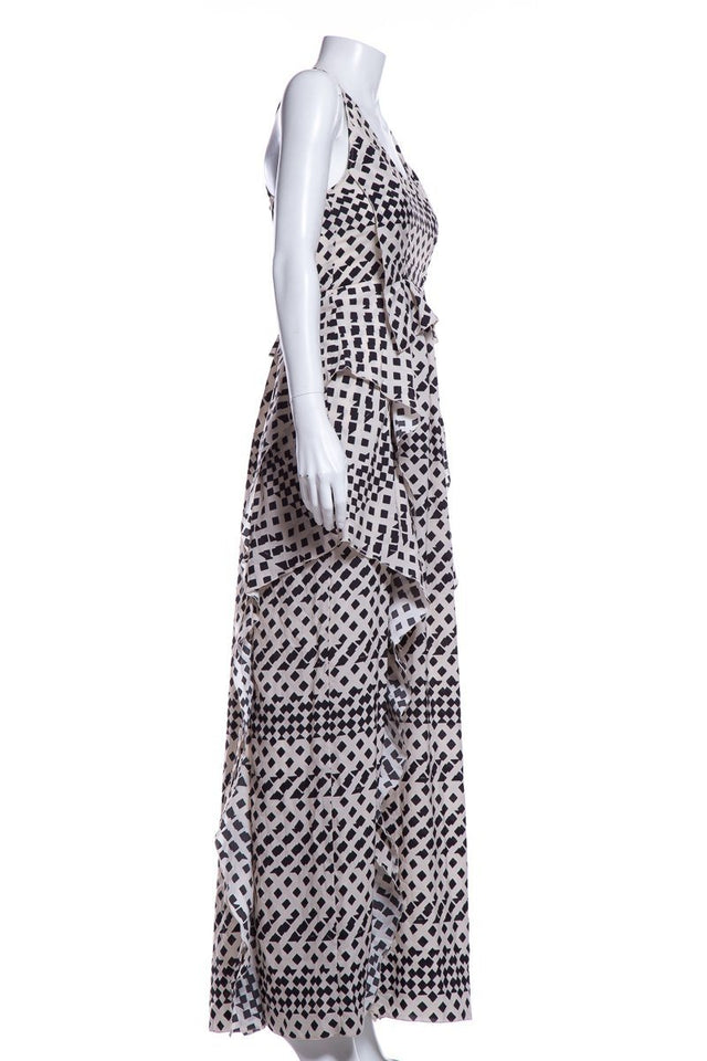 Thakoon Addition Black & Cream Sleeveless Maxi Dress SZ 0