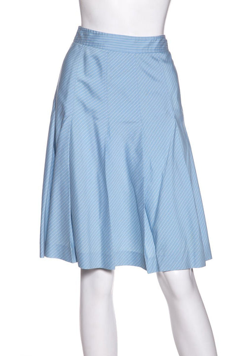 46fd3efac2 Theory Blue   White Pinstripe Flare Skirt SZ 0 Sale