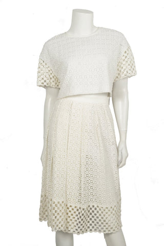 Tibi White Cutout Skirt Set Sz 10