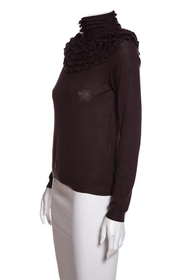 Valentino Brown Ruffled Yoke Sweater Sz M