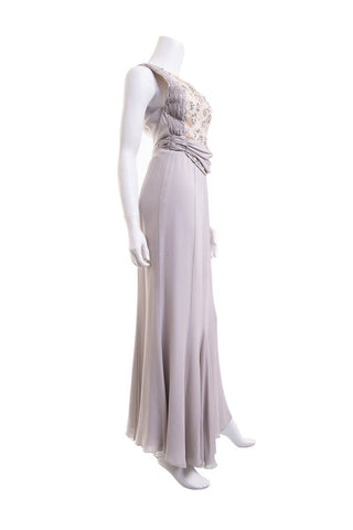 Valentino Grey Embellished Lace Gown SZ 4