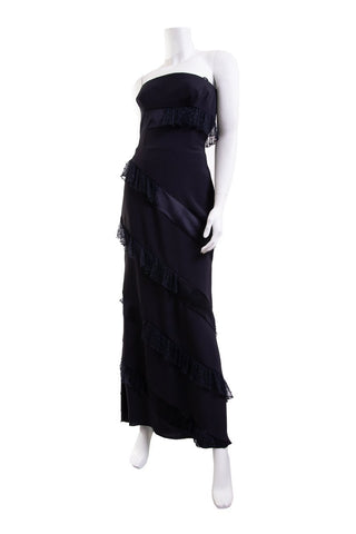 Valentino Navy Ruffle Strapless Dress SZ 4