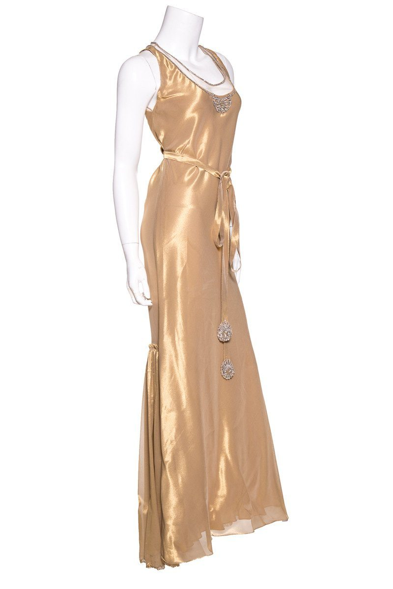 Vera Wang Gold Scoop Neckline Embellished Evening Gown Sz 10
