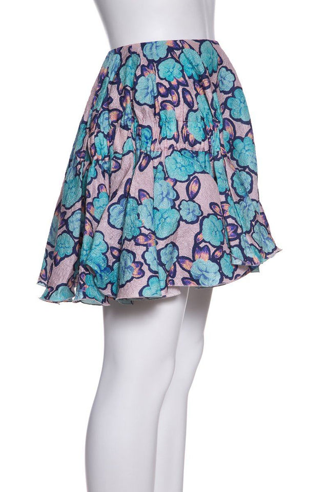 Viktor & Rolf  Multicolor Floral Print Silk Blend Skirt SZ 38 NWT sale