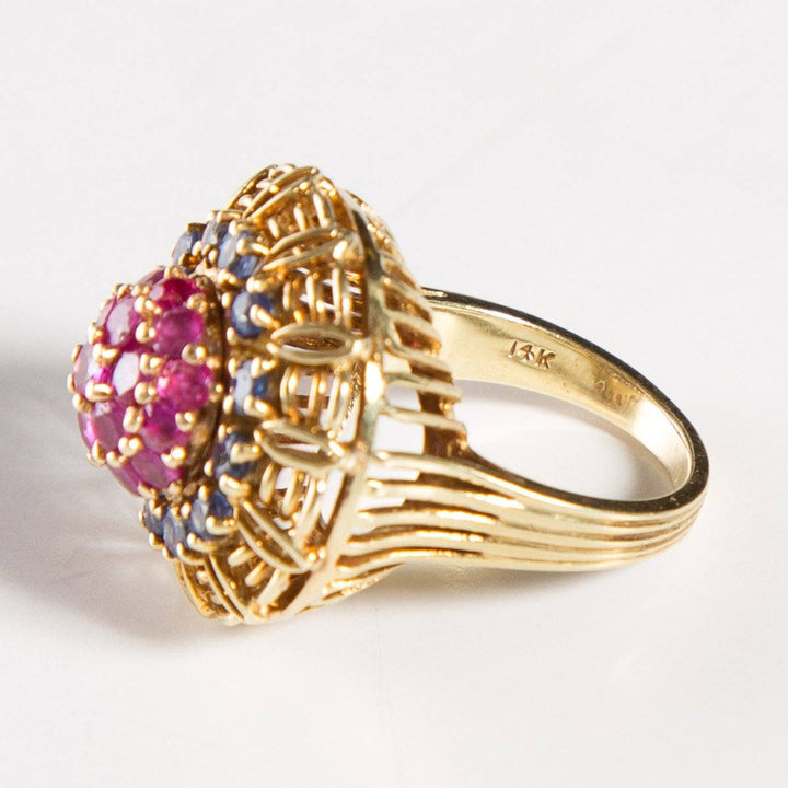 Vintage 14k Yellow Gold, Ruby and Sapphire Cluster Ring SZ 5.5