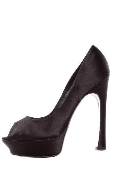 Yves Saint Laurent Black Satin Palais Platforms SZ 40.5