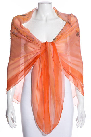 Hermès Orange & Multicolor Rose Motif Chiffon Silk Shawl