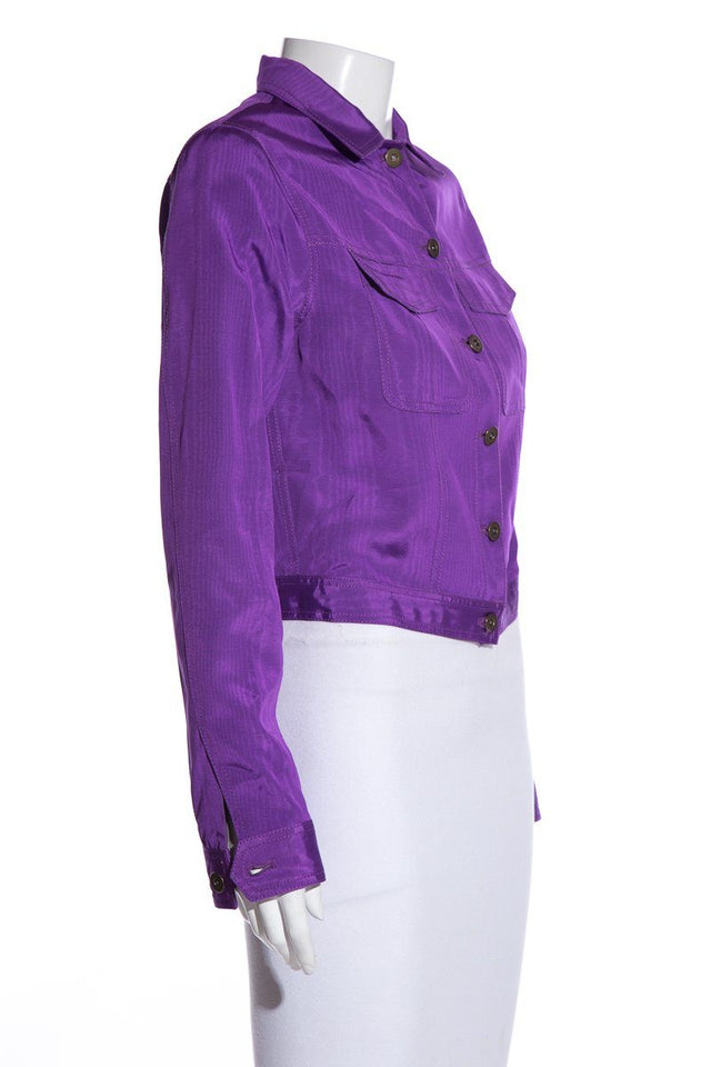 Rosie Assoulin Purple Cropped Button-Up Jacket SZ 6 NWT EXCLUSIVE