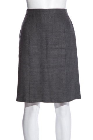 Chanel Vintage Gray Linen Skirt SZ 36