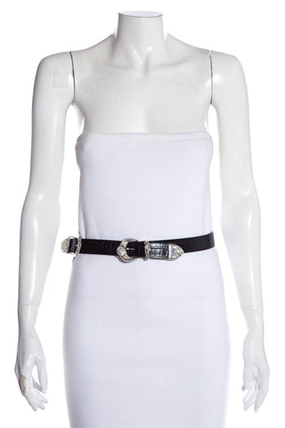 Maje Black Leather Embellished Belt NWT