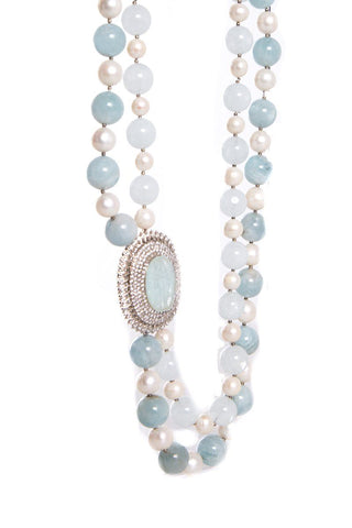 Blue and White Double Strand Necklace