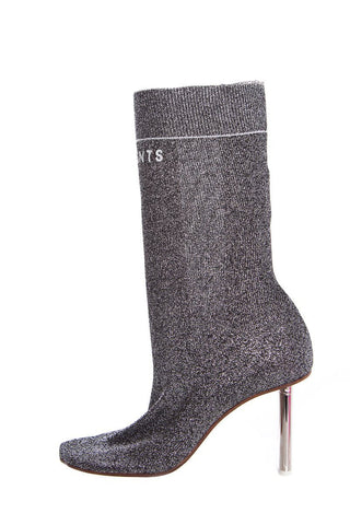 39 Vetements Silver Glitter Embroidered Accent Sock Boots